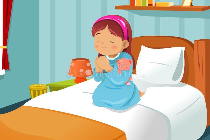 Little girl praying vector illustration