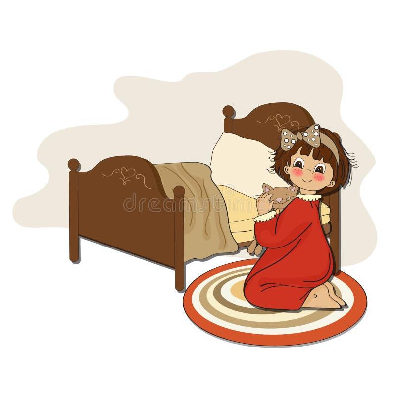 Little girl is preparing for sleep stock illustration