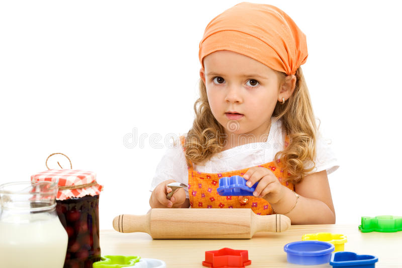 Little Girl Preparing To Make Cookies Stock Images