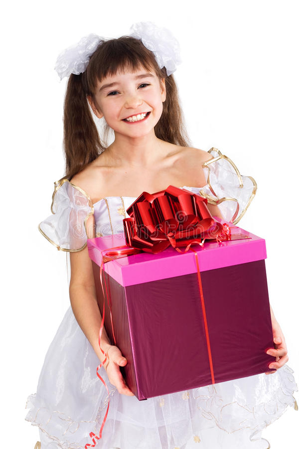 Download Little girl with present stock image. Image of tree, cute - 21932633