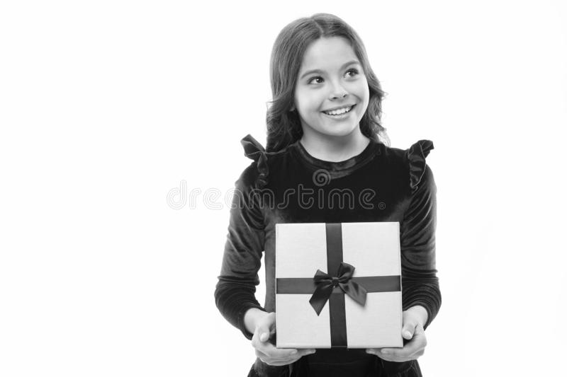 Little girl with present box. big sale in shopping mall. Boxing day. small girl after shopping. Happy birthday gift. Copy space. Nice purchase. Easy and fast stock photography