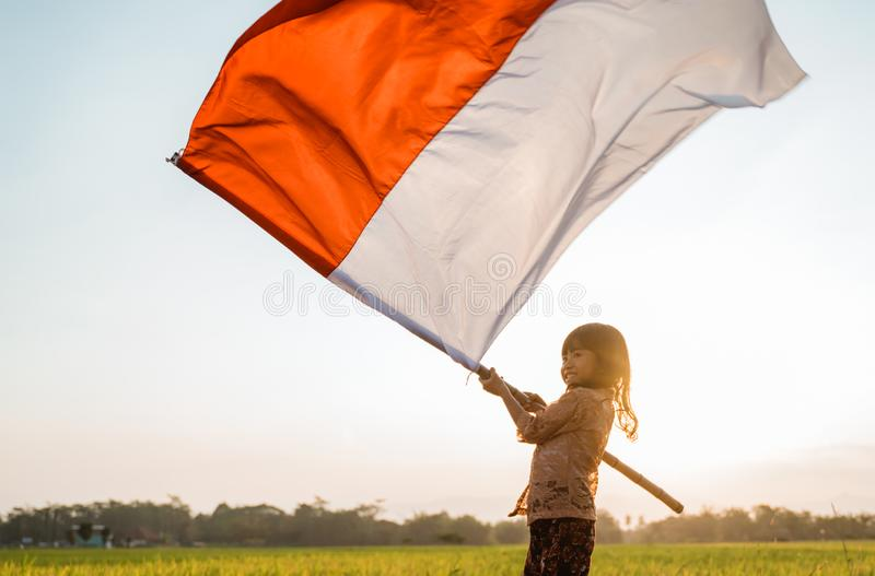 Little girl pride flapping Indonesian flag with happiness. In the rice field stock images