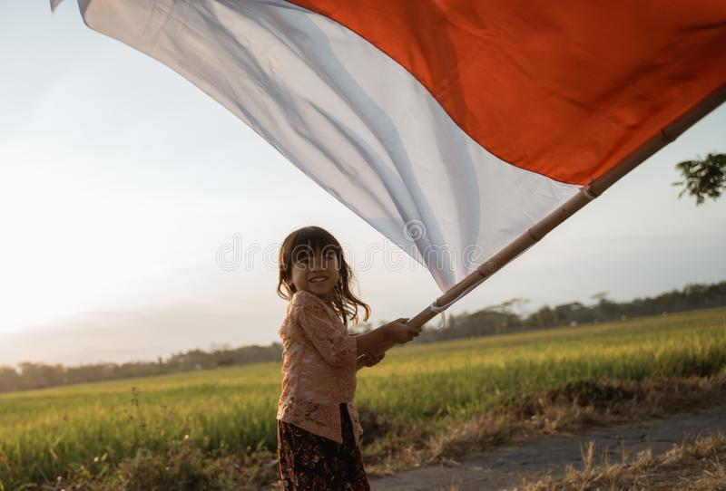 Little girl pride flapping Indonesian flag with happiness. In the rice field stock photography