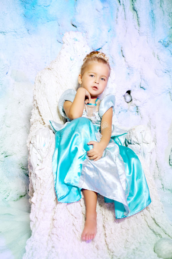 Little Girl In Princess Dress On A Background Of A Winter ...