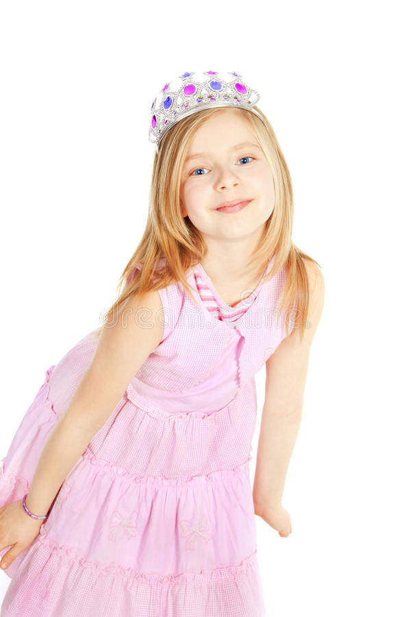 Little girl princess over white. Background stock photo