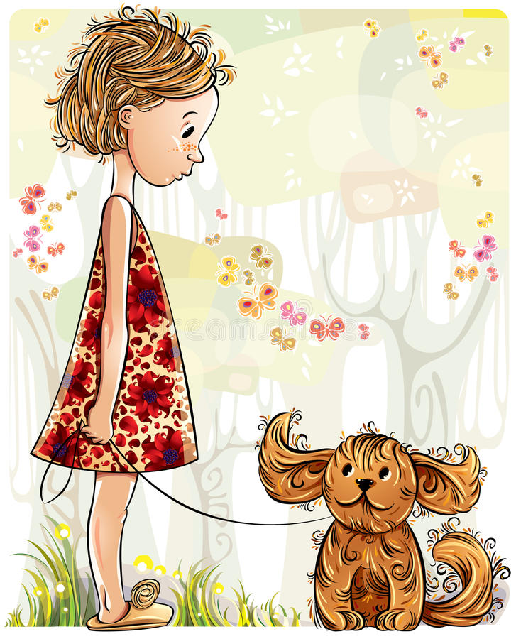 Download Little Girl With Puppy In The Park. Stock Vector - Image: 20195894
