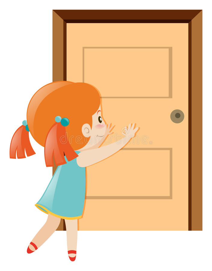 Little girl pushing the door open royalty free illustration