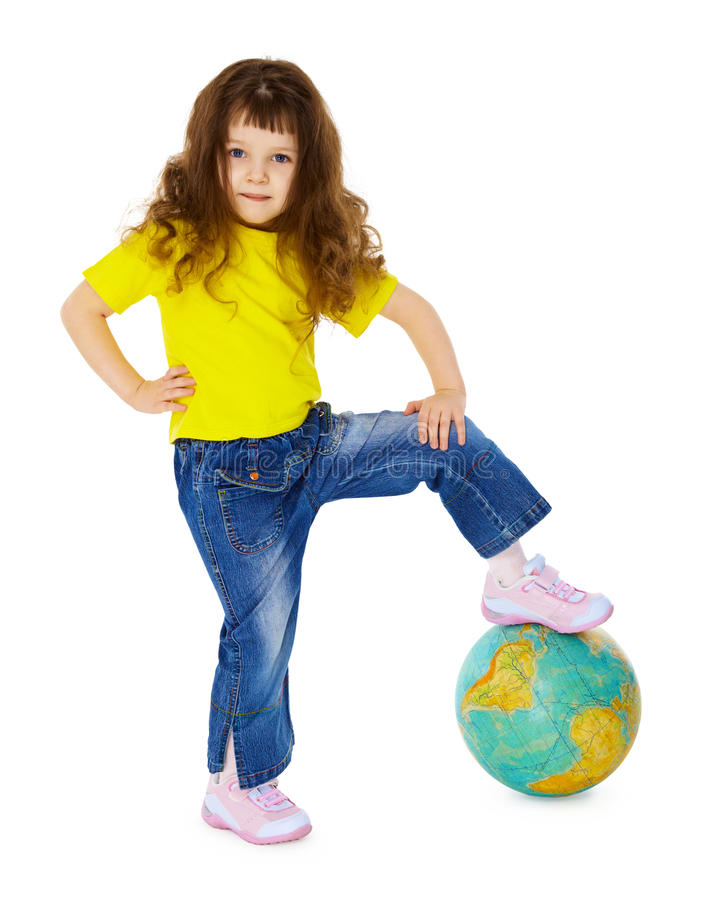 Little Girl Put Her Foot On Geographic Globe Stock Photography