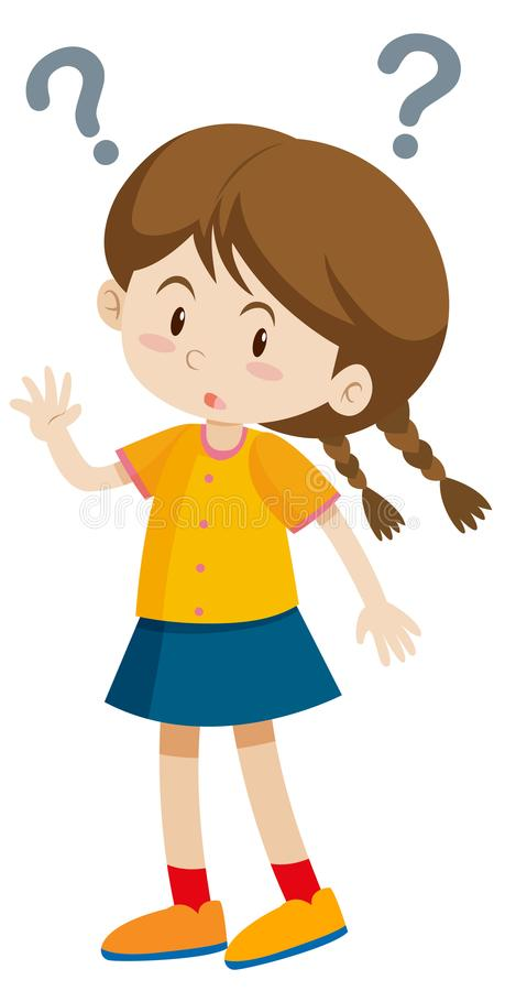 Little girl with question marks vector illustration
