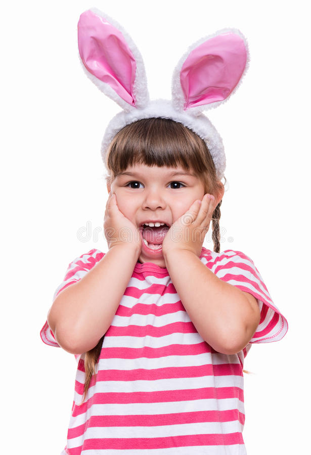 Little girl with rabbit ears stock photos