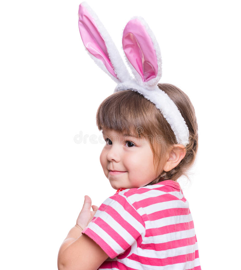 Little girl with rabbit ears royalty free stock image