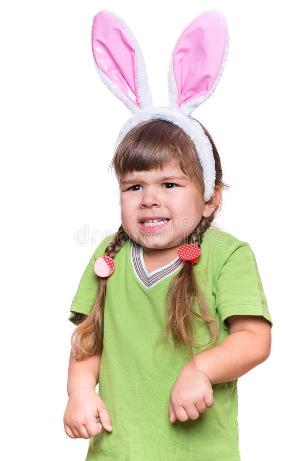 Little girl with rabbit ears royalty free stock photos