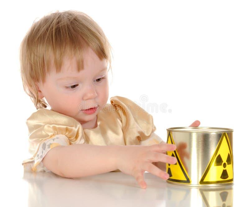 Little girl and radioactivity stock photo