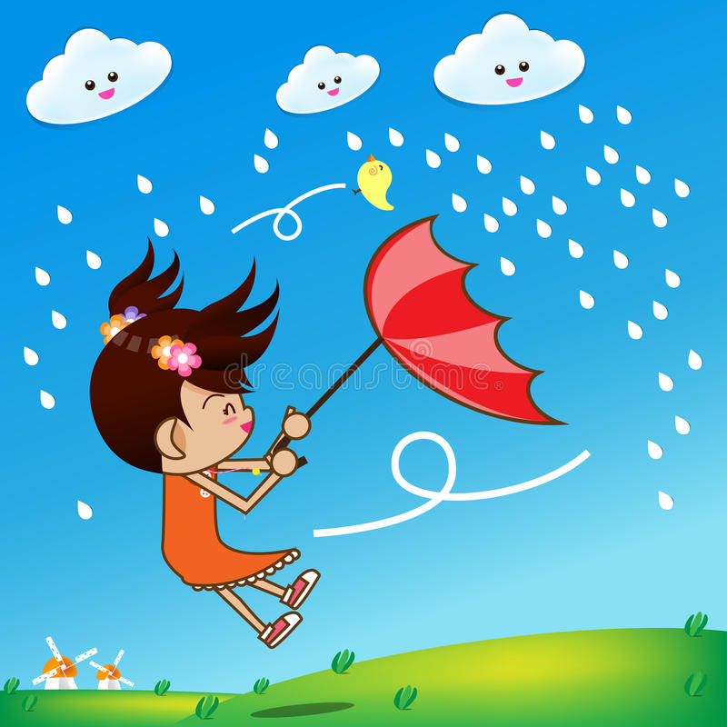 Little girl in rainy day stock illustration