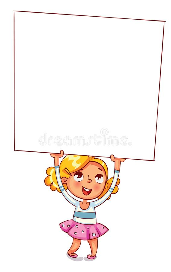 A little girl raised a large advertising poster over her head. Template for advertising brochure. Ready for your message. Space for text. Funny cartoon royalty free illustration