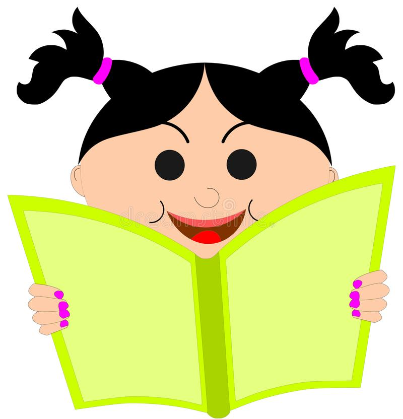 A Little Girl Reading Book-Cartoon Image. Smiling face of a cute little girl with two beautiful ponytails reading a book holding in her hands. This is a cartoon vector illustration