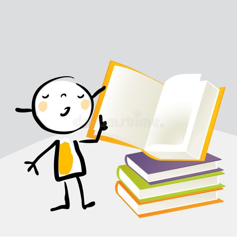 Little girl reading stock illustration