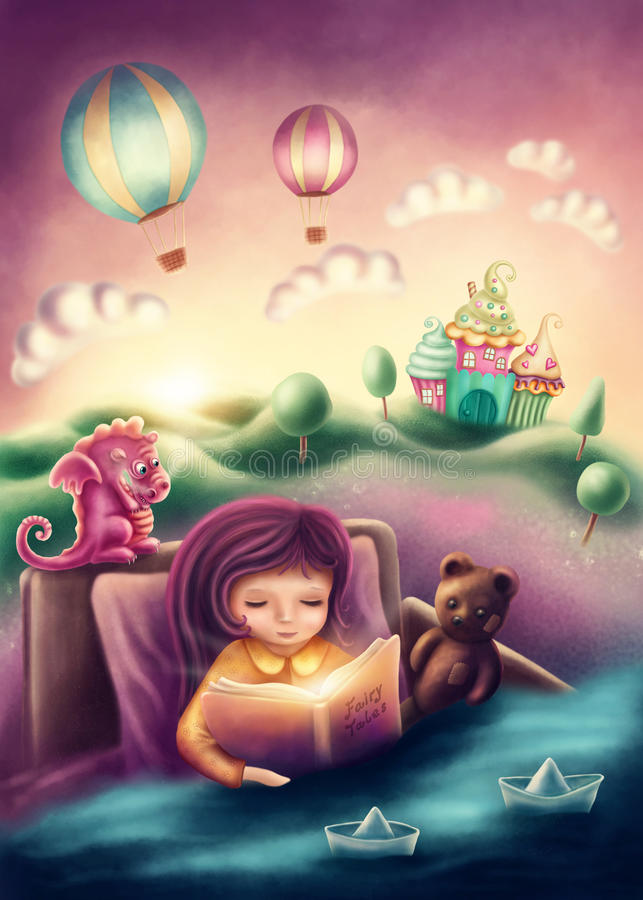 Little girl reading a book. Illustration of a little girl reading a book stock illustration