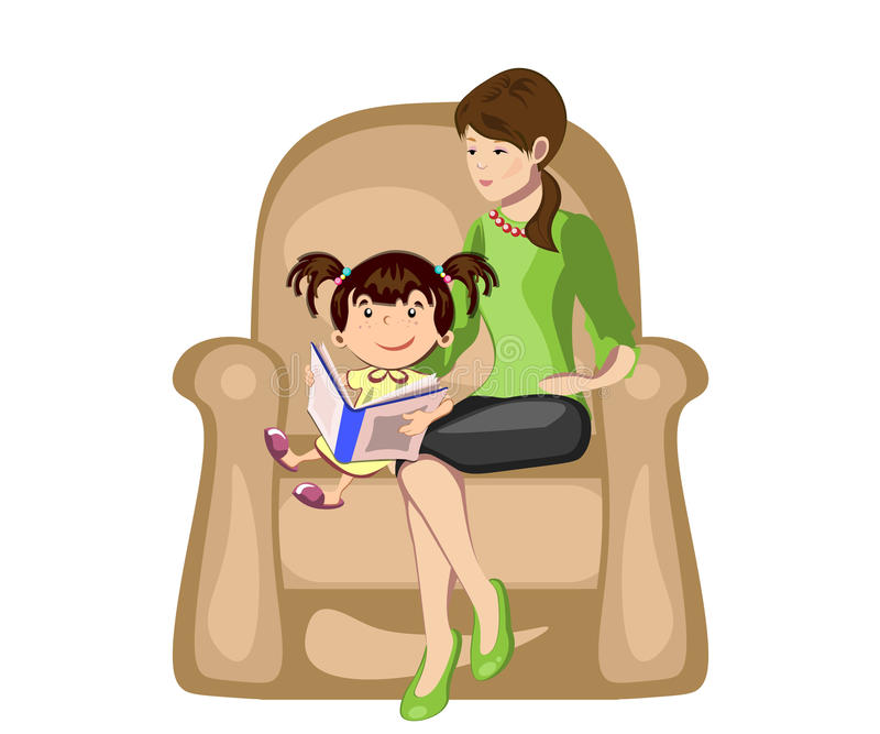 Little girl reading a book with mother in armchair. vector illustration