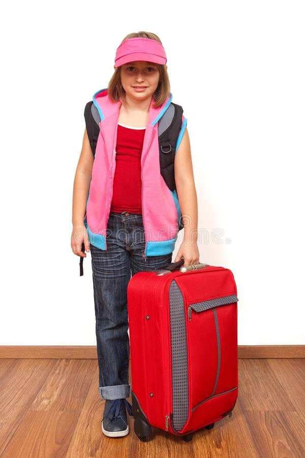 Little girl ready to travel