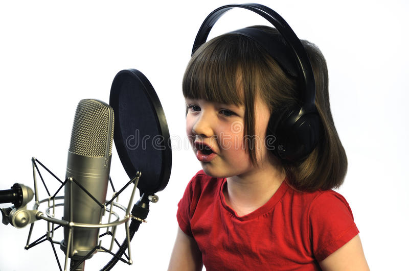 Little Girl Recording Royalty Free Stock Image