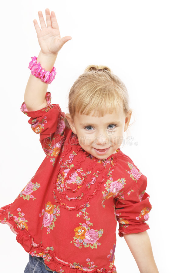 Little girl in red stock image