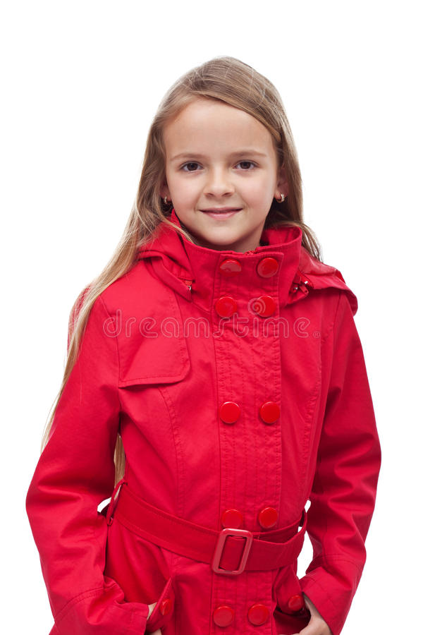 Download Little girl in red coat stock photo. Image of isolated - 41240250