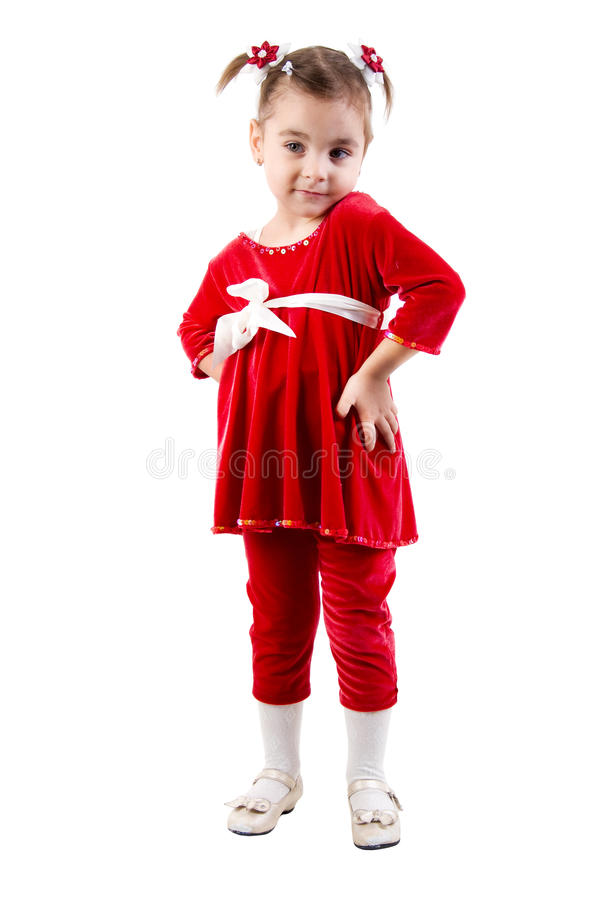 Download Little Girl In Red Dress. stock image. Image of isolated - 12164963