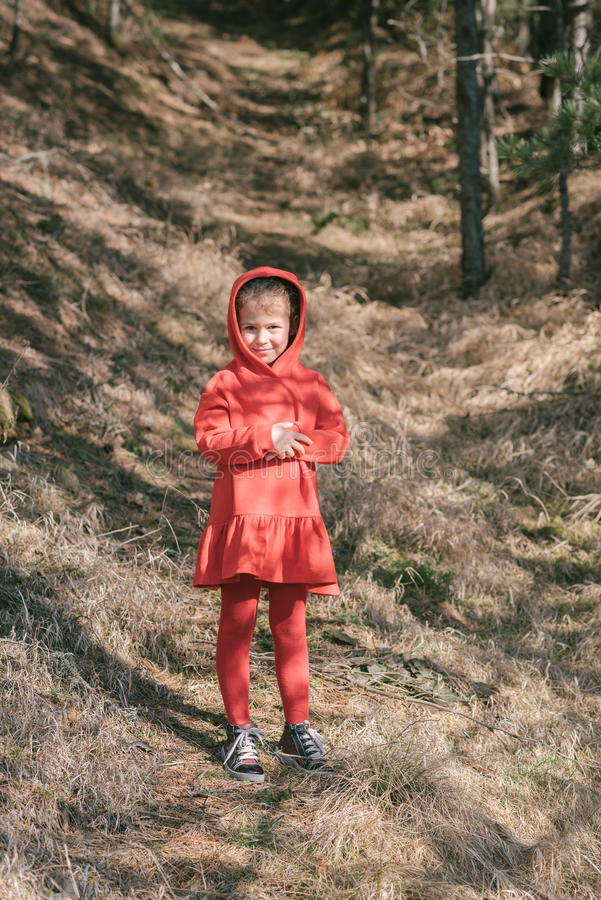 Little girl in red dress royalty free stock image