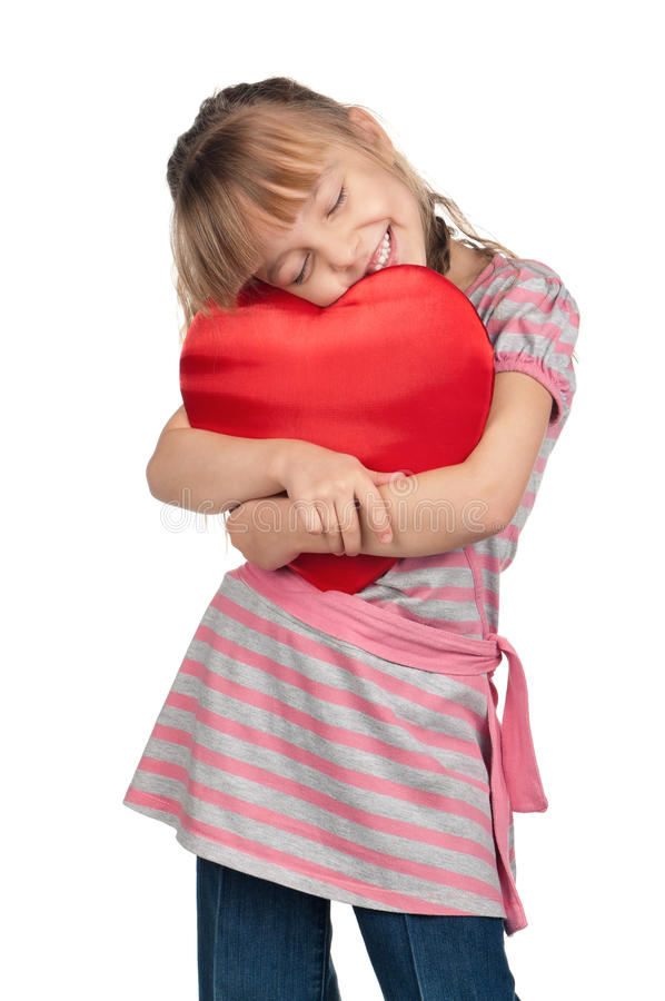 Download Little Girl With Red Heart Royalty Free Stock Image - Image: 26828096