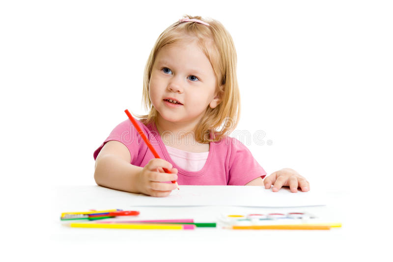 Little girl with red pencil isolated stock photo