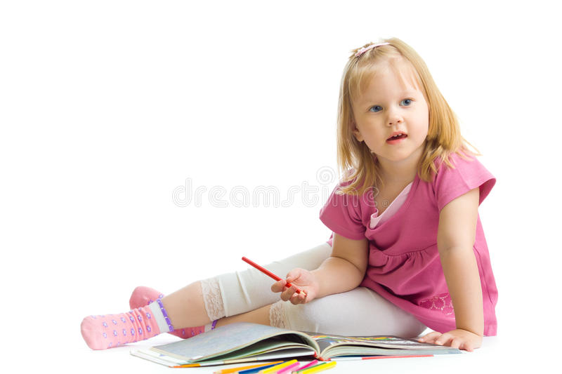 Download Little Girl With Red Pencil Isolated Stock Photo - Image: 19535874