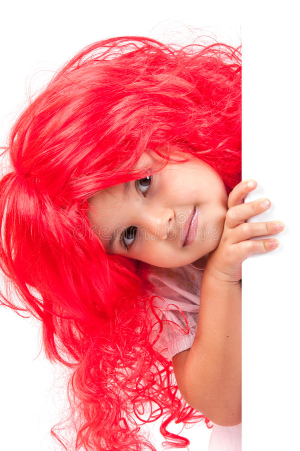 Little Girl With Red Wigs Stock Photos