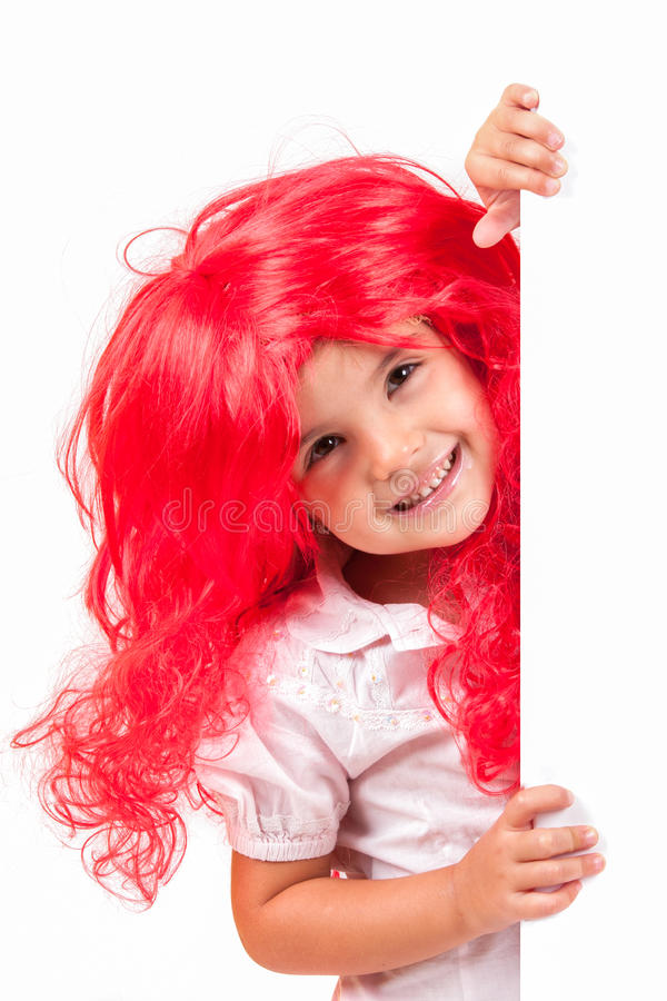 Download Little girl with red wigs stock photo. Image of cute - 26813664