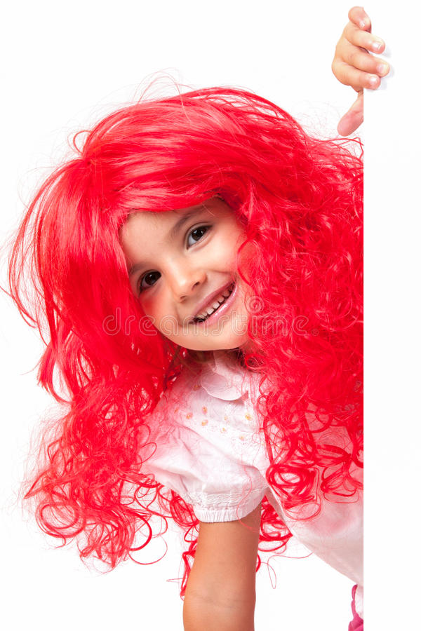 Download Little girl with red wigs stock image. Image of isolated - 26813689