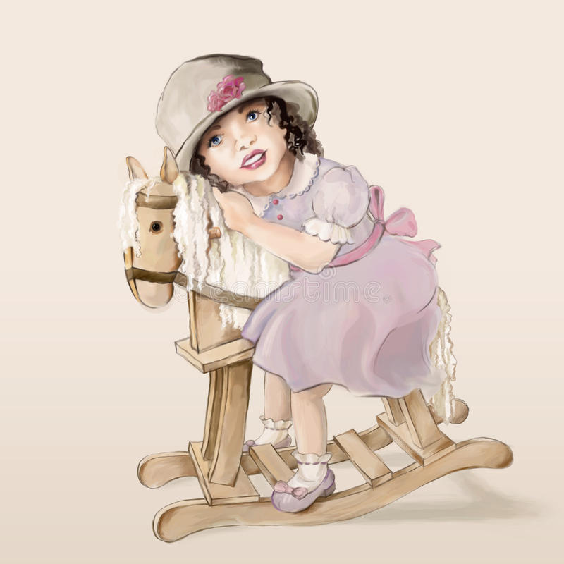 Little girl on a rocking horse stock illustration