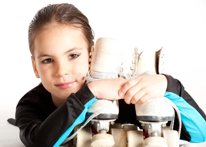 Little girl with Roller skates royalty free stock photo