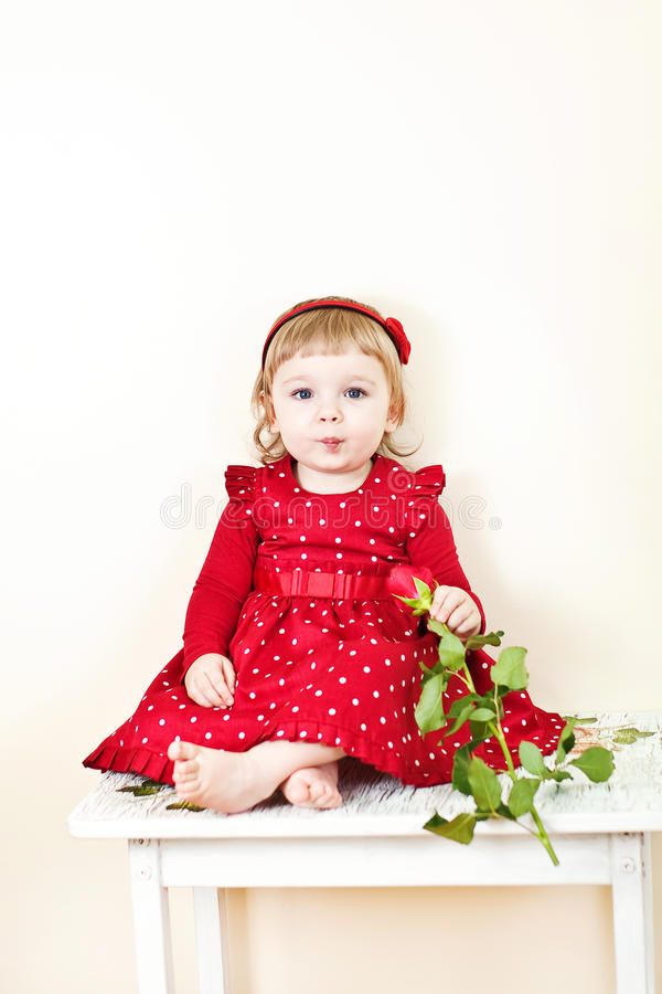 Download Little girl with rose stock image. Image of girl, female - 23840819