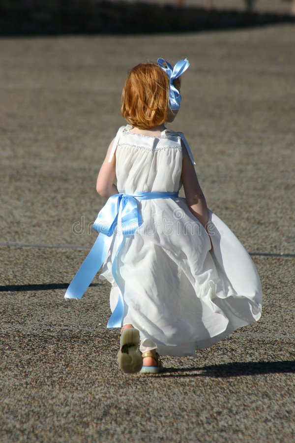 Little girl run stock image