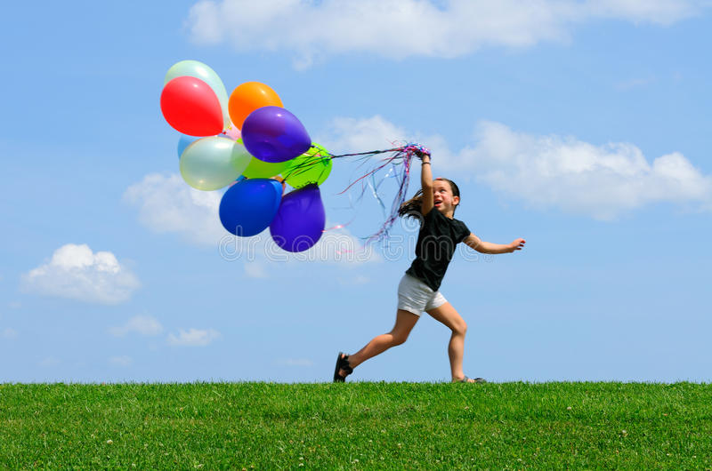 Download Little Girl Running With Balloons Stock Image - Image of elementary, girl: 10489031