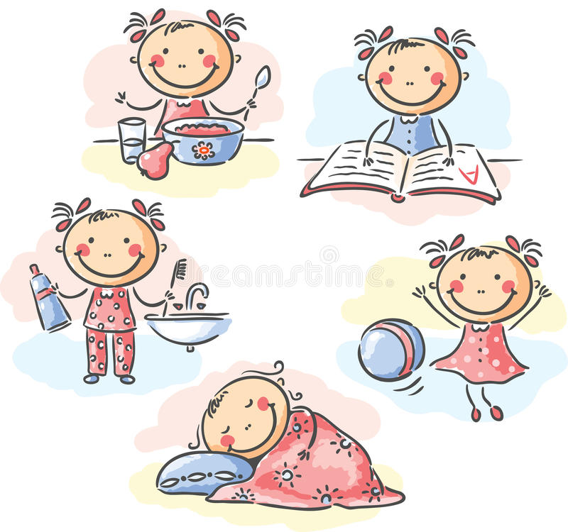Little girl's daily activities vector illustration