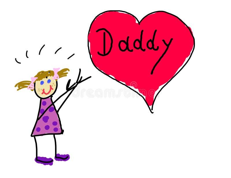 Little girl's love for Daddy stock illustration