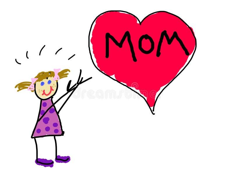 Little girl's love for mom royalty free illustration