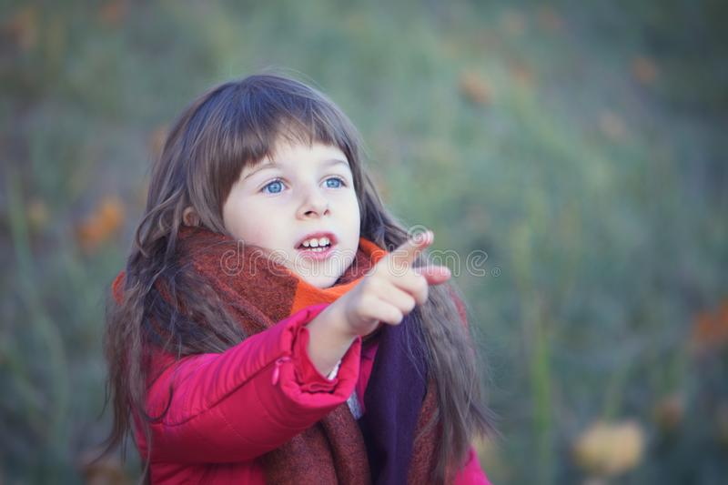 Little girl`s portrait in red shawl royalty free stock image