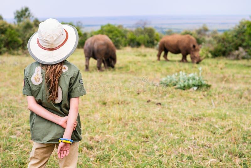 Little girl on safari. Back view of a little girl on safari walking close to white rhinos stock photos