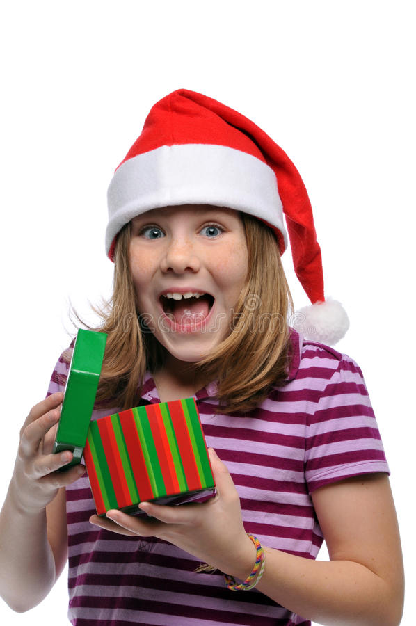 Little girl Santa with gift royalty free stock photography