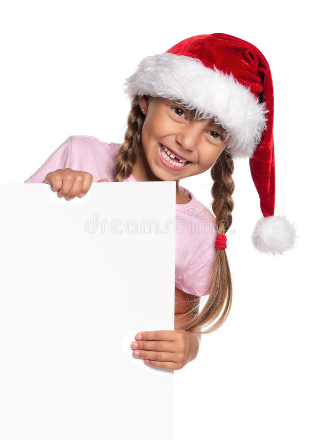 Download Little girl in Santa hat stock photo. Image of empty - 26841600
