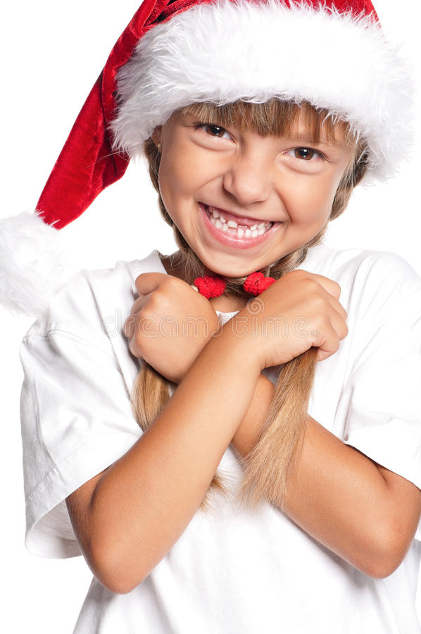 Download Little girl in Santa hat stock photo. Image of cute, face - 26906454