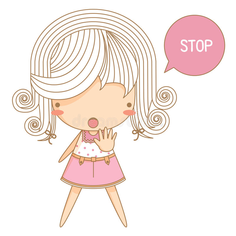 Download Little girl say stop stock vector. Illustration of character - 34640187