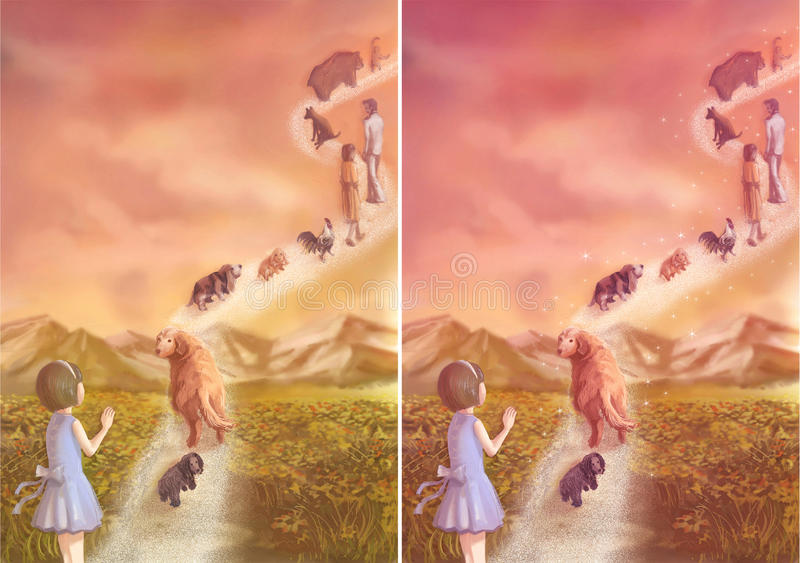 A little girl is saying goodbye to her loving pets and family which going to heaven stock illustration